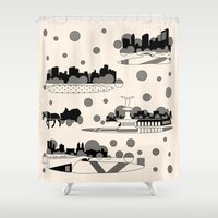 central park Shower Curtains featuring central park snow by Gray