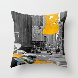 NYC Yellow Cabs - Billboard - Brush Stroke Throw Pillow