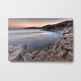 The sunset at Agios Kyprianos in Andros, Greece Metal Print