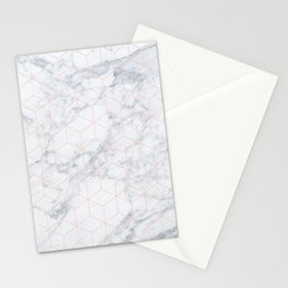 MARBLE PALE DOGWOOD HEXAGON DESIGN Stationery Cards