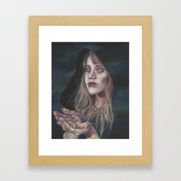 The Messenger, Portrait of a Powerful Witch with Ravens Framed Art Print
