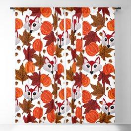 Cute Fall Fox Pumpkin Acorn Maple Leaf Watercolor Blackout Curtain