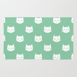 Cat minimal illustration pet cats head drawing digital pattern mint and white nursery art Rug