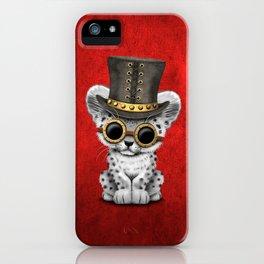 Steampunk Snow Leopard Cub iPhone Case