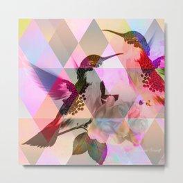 Geometric, pastel, bird print Metal Print