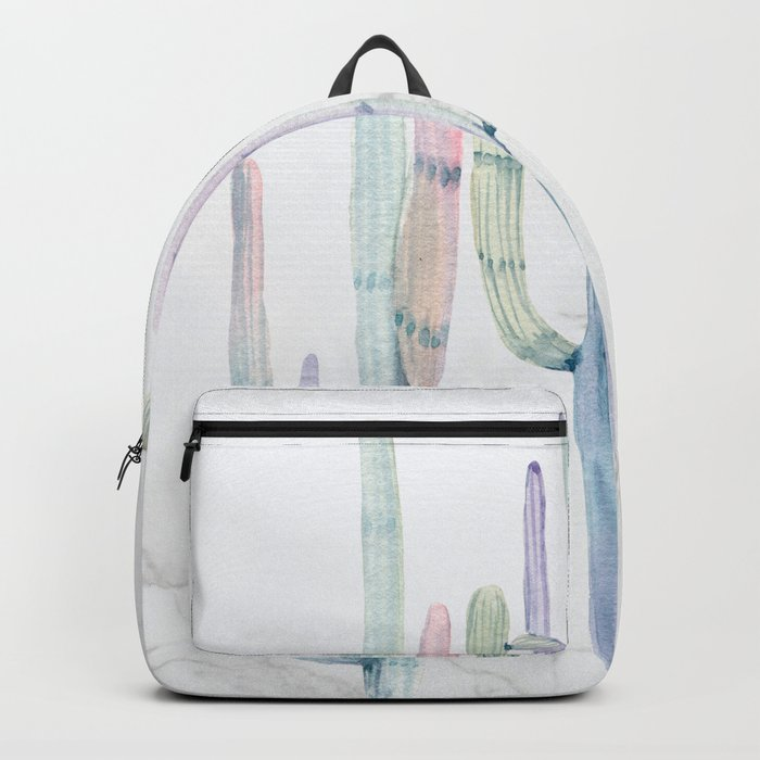 Cactus Trio on Marble Turquoise Purple Watercolor by Nature Magick Backpack