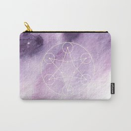 Sacred Geometry Violet Purple Watercolor Ombre Carry-All Pouch
