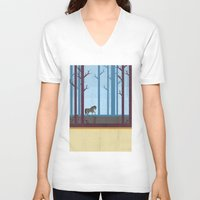 woods V-neck T-shirts featuring Woods by Kakel
