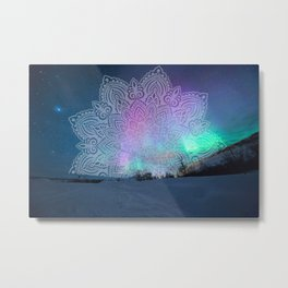 Purple Aurora Mandala  Metal Print