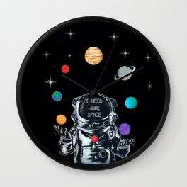 Astronaut Juggling the Solar System Wall Clock