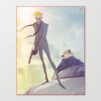 calvin and hobbes Canvas Prints featuring Agent Calvin and Hobbes by Coran Kizer Stone