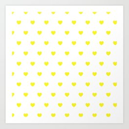 HEARTS ((sunshine yellow on white)) Art Print