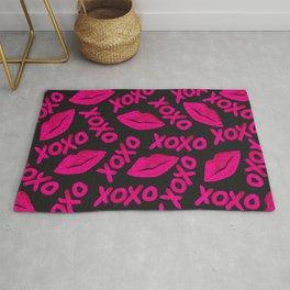 XOXO Quote Black Neon Pink Lips Lipstick Pattern Rug