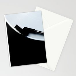 White vinyl record on a turntable Stationery Cards