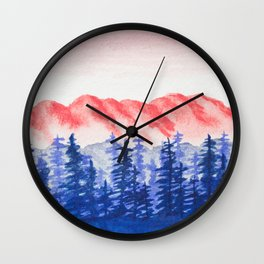 Navy and Coral Mountains Wall Clock