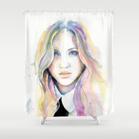 college Shower Curtains featuring College girl by Cora-Tiana