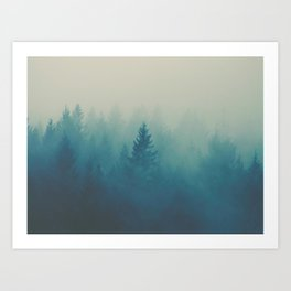MIsty Turquoise Blue Pine Forest Foggy Parallax Tree Landscape Silhouette Art Print