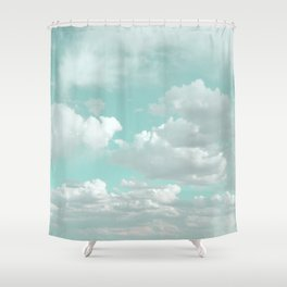 Clouds in a Mint Sky Shower Curtain