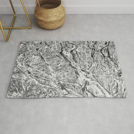 RHODODENDRON - TWISTING TRUNKS - IN BLACK AND WHITE Rug