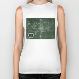 World Map (1778) Green & White Biker Tank