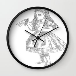 Alice Drink Me Bottle Alice in Wonderland in White with Transparent Background Wall Clock