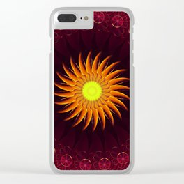 A Floral Sun Mandala of a Thousand Ruby Red Roses Clear iPhone Case