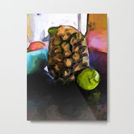 Green Lime and a Pineapple with No Leaves Metal Print