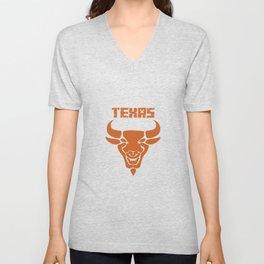 Texas bull bull head horns USA gift Unisex V-Neck