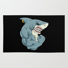 Shark At The Gym | Fitness Training Muscles Rug