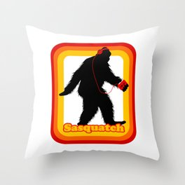 Retro Sasquatch Throw Pillow