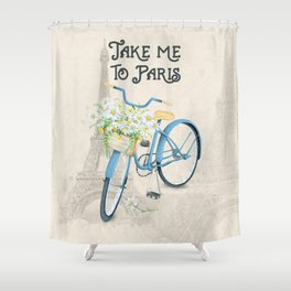 Vintage Blue Bicycle with Flowers in Paris Shower Curtain