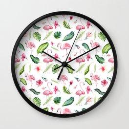 Pink green watercolor tropical hand painted flamingo Wall Clock