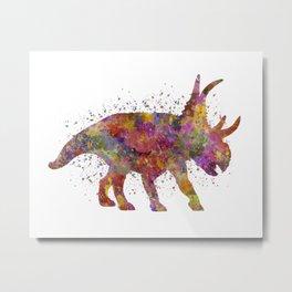 Diabloceratops dinosaur in watercolor Metal Print