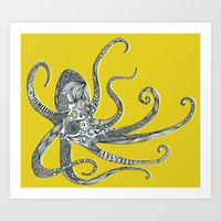 octopus Art Prints featuring Octopus by Rachel Russell