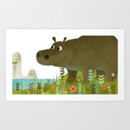 Hip Hip Hippo Art Print