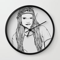 cara Wall Clocks featuring Cara. by Jessicapaige