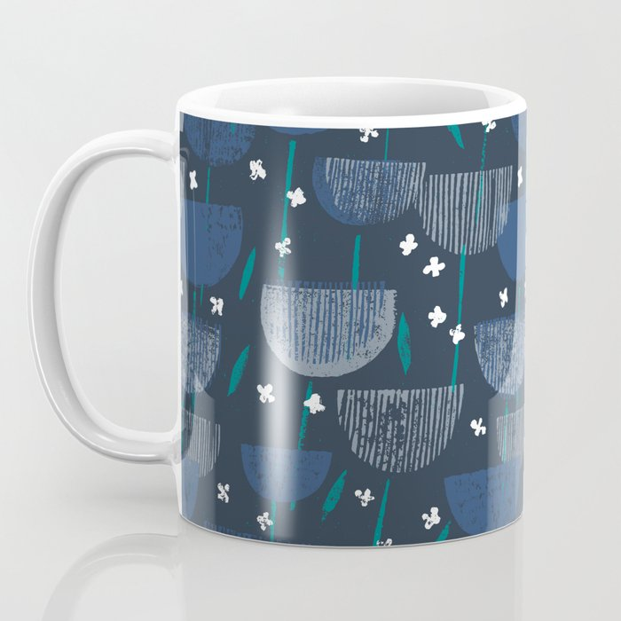 Botanical Block Print M+M Navy by Friztin Coffee Mug