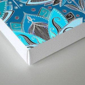 Art Deco Lotus Rising - black, teal & turquoise pattern Canvas Print