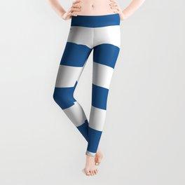 Lapis lazuli - solid color - white stripes pattern Leggings