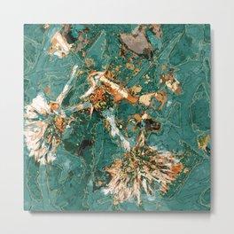 Macelas - Small flowers digitally stylized green marble Metal Print