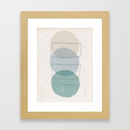 Three Stacked Ellipses with Line in Green and Gray Framed Art Print