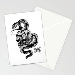diamond skull and snake Stationery Cards