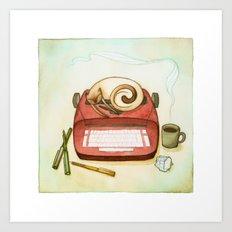 Cat & Typewriter Art Print