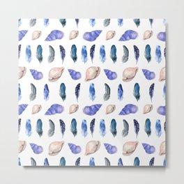 Feathers and Seashells Pattern Metal Print