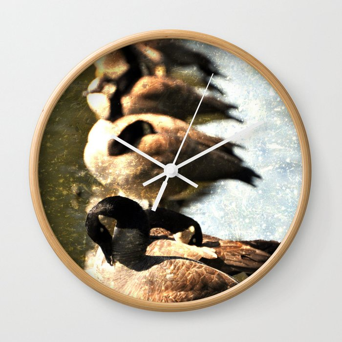 GEESE ON A LOG Wall Clock