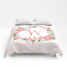 Monogram W - cute girls coral florals flower wreath, coral florals, baby girl, baby blanket Comforters