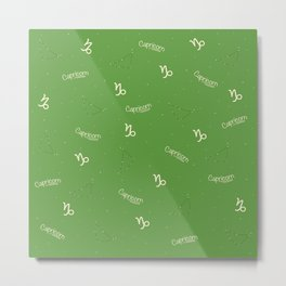 Capricorn Pattern - Green Metal Print