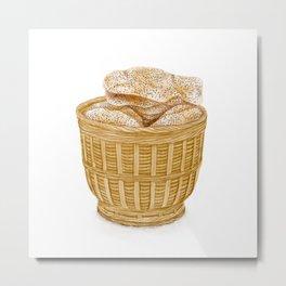 Watercolor Illustration of Chinese Snack - Kite Mooncake | 风吹饼 Metal Print