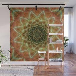 Mandala fractal flower orange Wall Mural