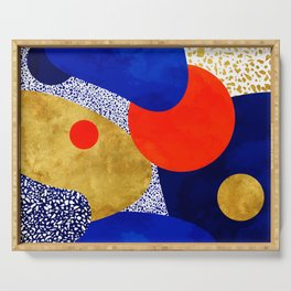 Terrazzo galaxy blue night yellow gold orange Serving Tray